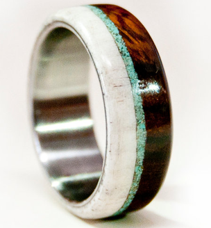 Men S Wedding Band Wood And Antler With Anium Turquoise